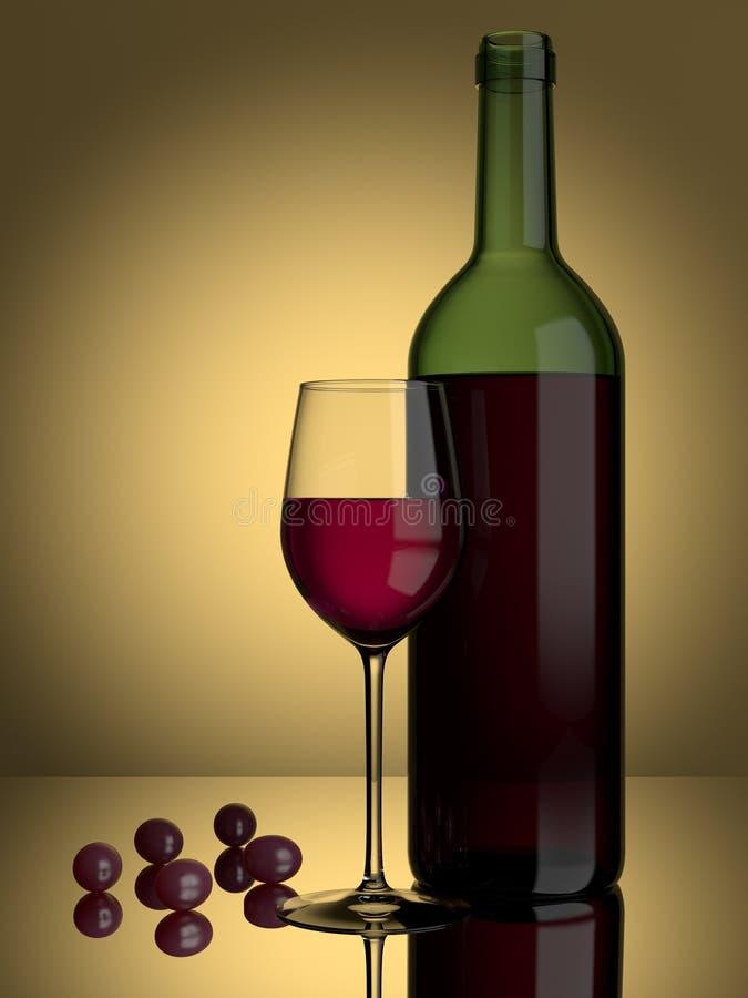 κόκκινο κρασί σταφυλιών γυαλιού διανυσματική απεικόνιση