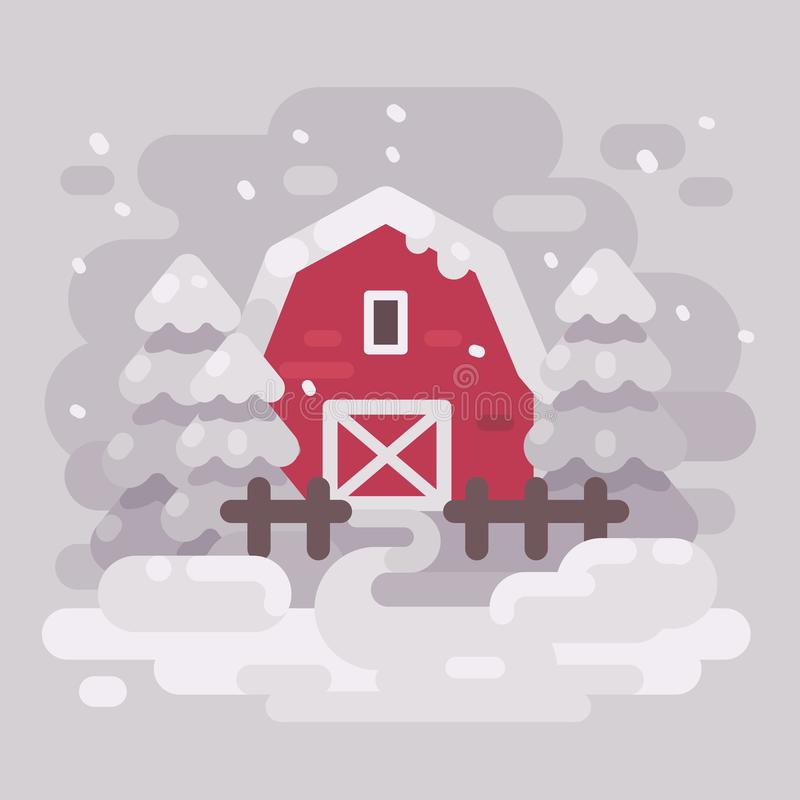 Κόκκινο κτήριο σιταποθηκών με τα δέντρα έλατου σε ένα χιονώδες χειμερινό τοπίο απεικόνιση αποθεμάτων