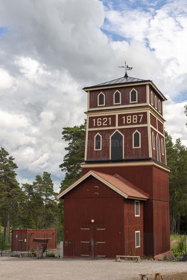 Κόκκινο κτήριο στο ιστορικό ασημένιο ορυχείο σε Sala στοκ φωτογραφίες με δικαίωμα ελεύθερης χρήσης