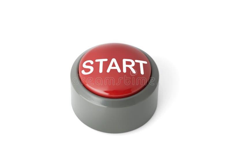 Κόκκινο κυκλικό κουμπί ώθησης επονομαζόμενο την έναρξη ` ` στο άσπρο υπόβαθρο στοκ εικόνα