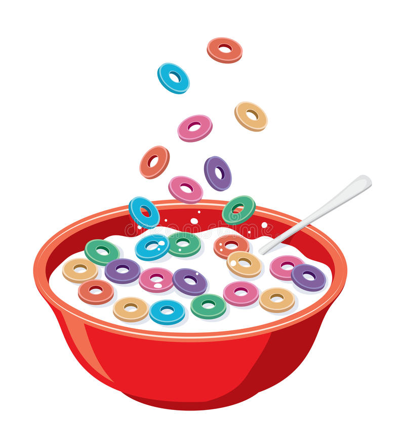 κόκκινο κύπελλο με τα δημητριακά στο γάλα διανυσματική απεικόνιση