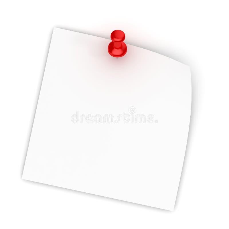 κόκκινο λευκό whi ώθησης καρφιτσών εγγράφου σημειώσεων απεικόνιση αποθεμάτων
