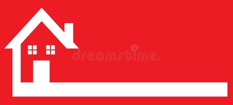 Κόκκινο λογότυπο σπιτιών ακίνητων περιουσιών που αντιστρέφεται απεικόνιση αποθεμάτων