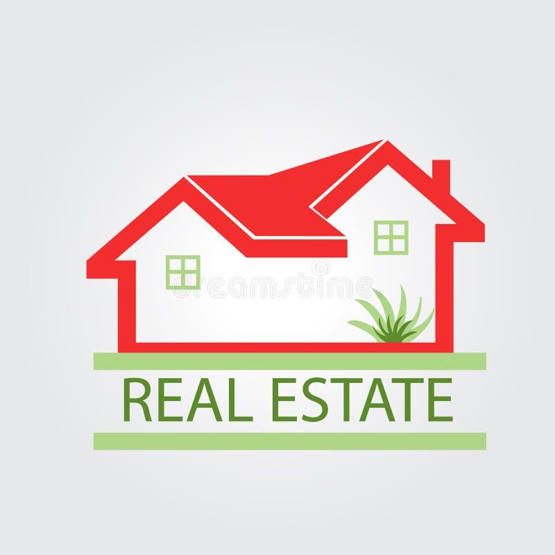 Κόκκινο λογότυπο σπιτιών ακίνητων περιουσιών ελεύθερη απεικόνιση δικαιώματος