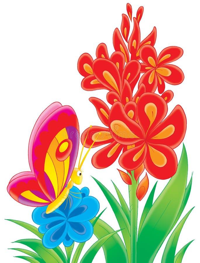 κόκκινο λουλουδιών πεταλούδων απεικόνιση αποθεμάτων