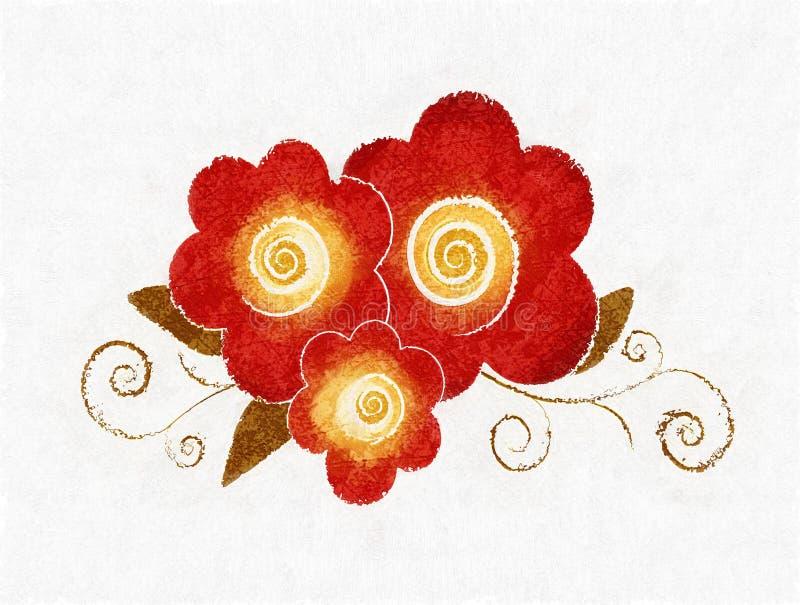 κόκκινο λουλουδιών σχεδίου κατασκευασμένο διανυσματική απεικόνιση