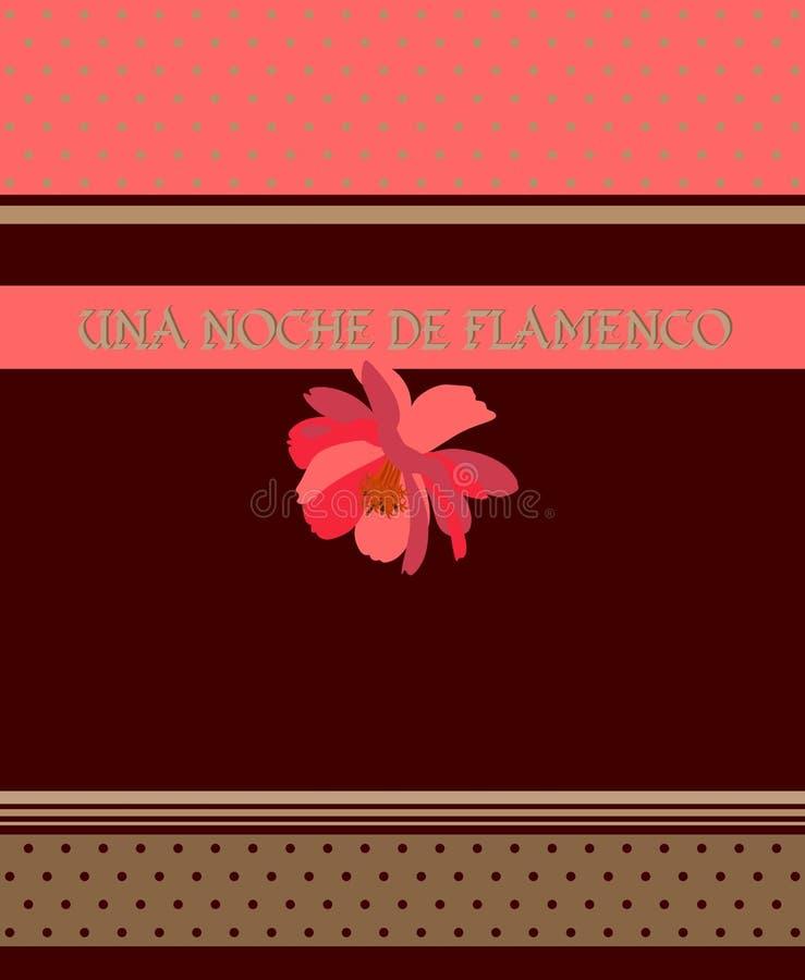 Κόκκινο λουλούδι στο καφετί υπόβαθρο, τις κορδέλλες σημείων Πόλκα και τα χρυσά λωρίδες Flamenco επιγραφή νύχτας στα ισπανικά 1 πρ απεικόνιση αποθεμάτων