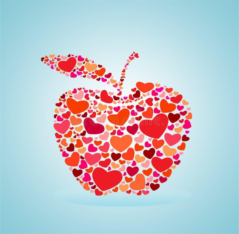Κόκκινο μήλο καρδιών απεικόνιση αποθεμάτων