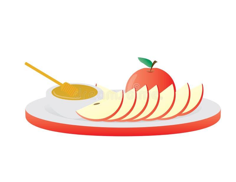 Κόκκινο μήλο, φέτες μήλων και μέλι στο άσπρο και κόκκινο πιάτο απεικόνιση αποθεμάτων