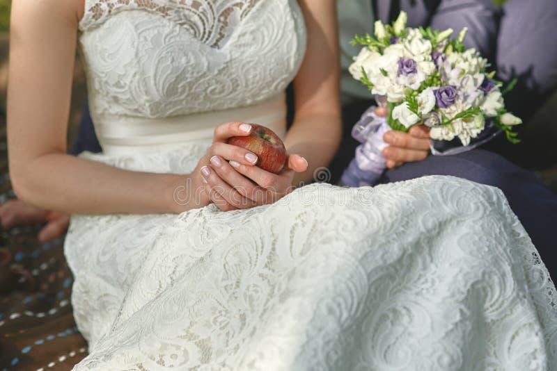 Κόκκινο μήλο στα χέρια της νύφης σε ένα άσπρο φόρεμα στοκ εικόνες