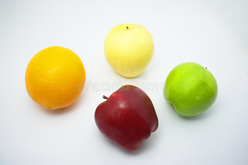 Κόκκινο μήλο, φρέσκο πορτοκαλί, πράσινο μήλο, κινεζικό αχλάδι στοκ εικόνα με δικαίωμα ελεύθερης χρήσης