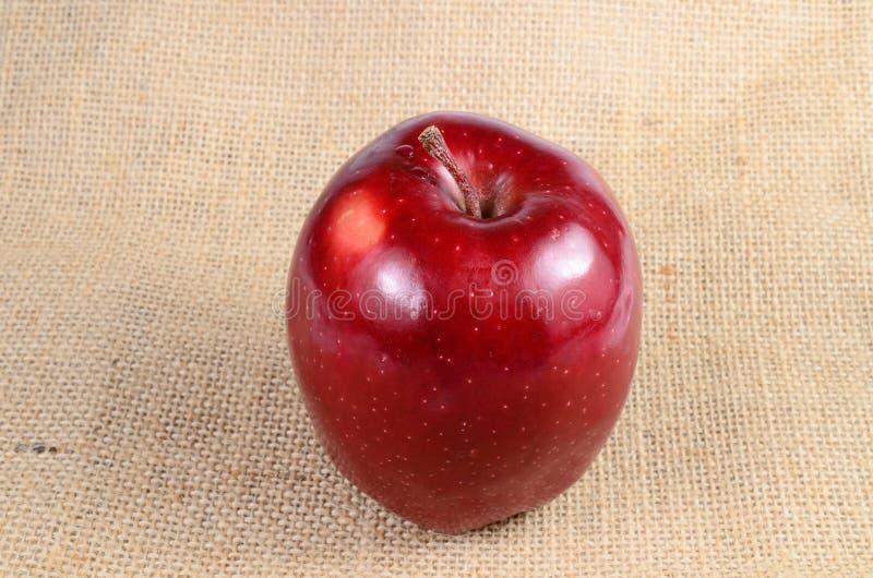 Κόκκινο μήλο sackcloth στοκ φωτογραφίες