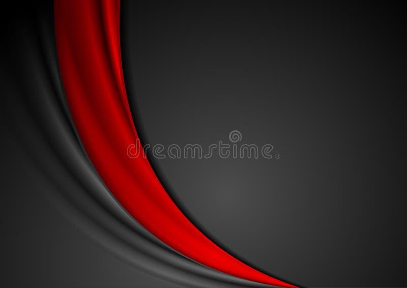 Κόκκινο μαύρο αφηρημένο κυματιστό υπόβαθρο αντίθεσης ελεύθερη απεικόνιση δικαιώματος
