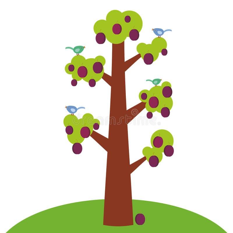 Κόκκινο μεγάλο δέντρο δαμάσκηνων με έναν παχύ κορμό, πράσινα φύλλα και ώριμα φρούτα, πουλερικά στους κλάδους Πράσινη χλόη Απομονω ελεύθερη απεικόνιση δικαιώματος