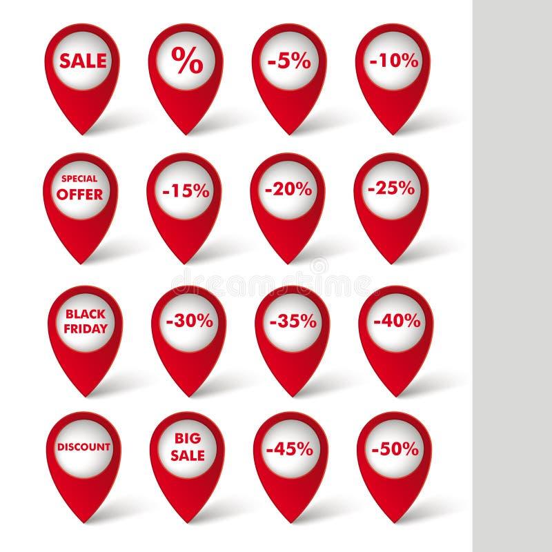 Κόκκινο μεγάλο άσπρο υπόβαθρο δεικτών πώλησης διανυσματική απεικόνιση