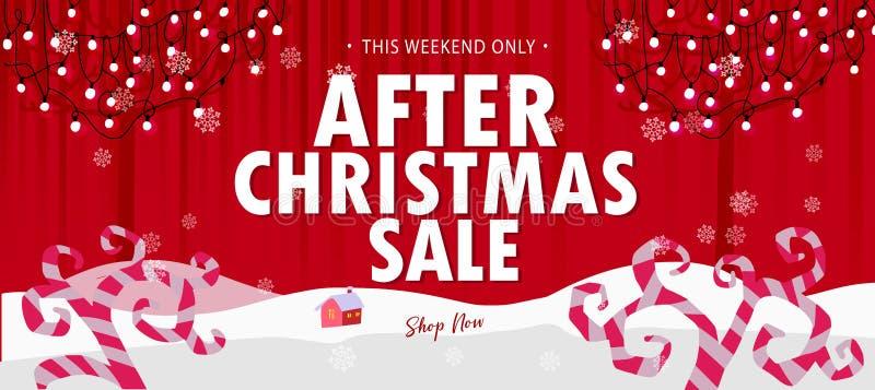Κόκκινο μετά από το έμβλημα πώλησης Χριστουγέννων διανυσματική απεικόνιση