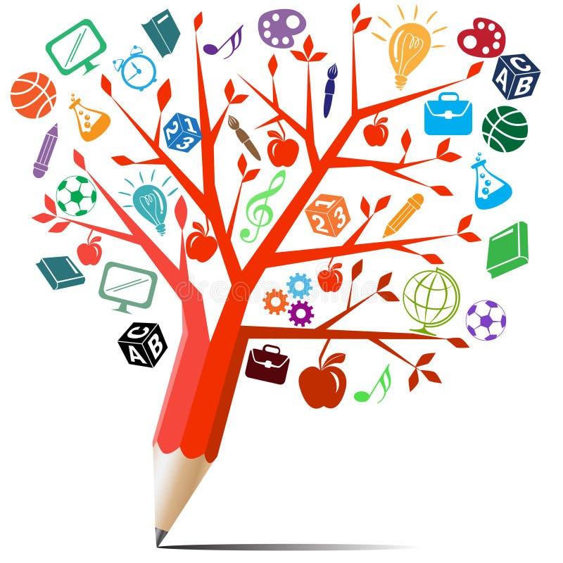 Κόκκινο μολύβι δέντρων με τα σύμβολα. ελεύθερη απεικόνιση δικαιώματος