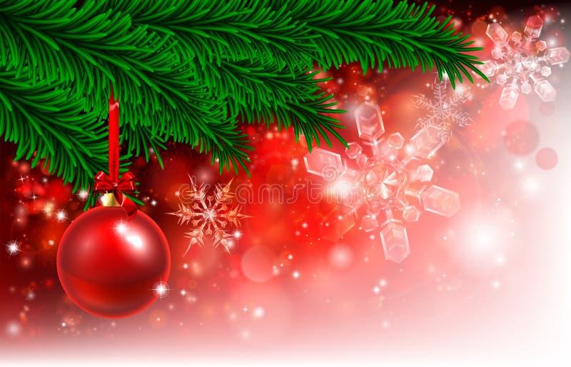 Κόκκινο μπιχλιμπίδι δέντρων υποβάθρου Χριστουγέννων απεικόνιση αποθεμάτων