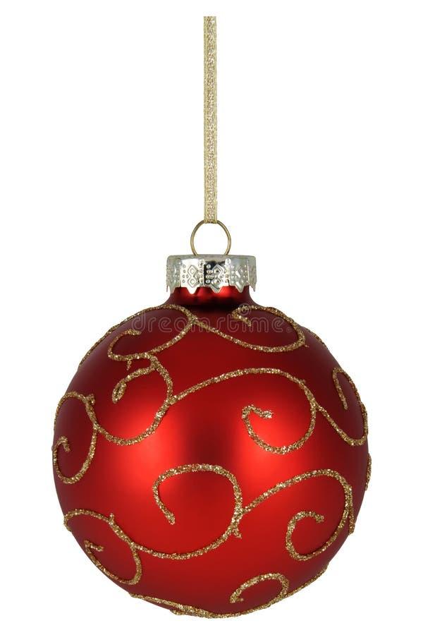 Κόκκινο μπιχλιμπίδι Χριστουγέννων με τη χρυσή διακόσμηση στοκ φωτογραφία