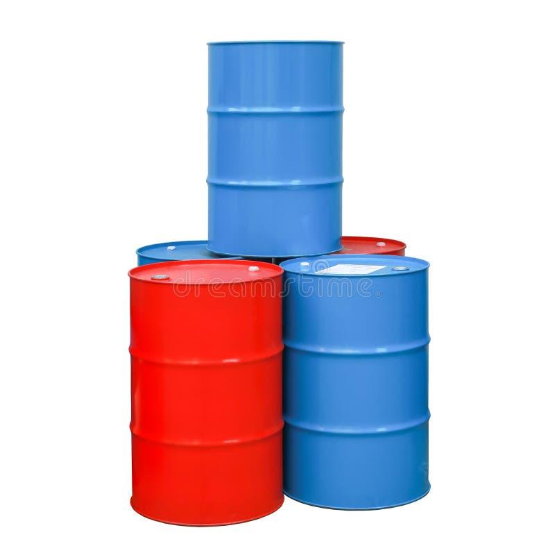 Κόκκινο, μπλε απομονωμένο πετρέλαιο άσπρο υπόβαθρο βαρελιών στοκ εικόνες με δικαίωμα ελεύθερης χρήσης