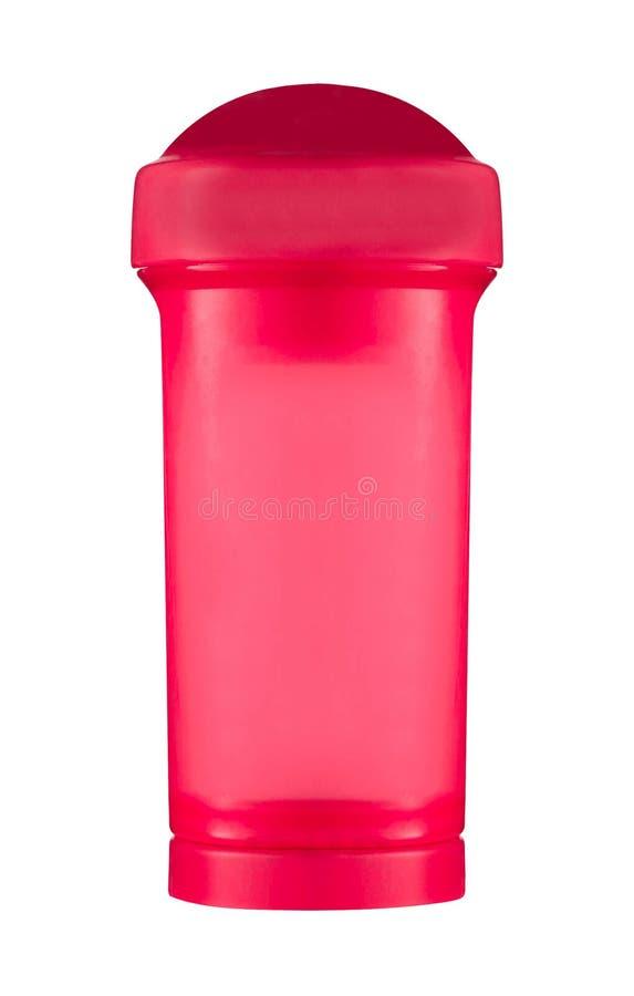 Κόκκινο μπουκάλι νερό, που απομονώνεται αθλητικό στο λευκό στοκ εικόνες