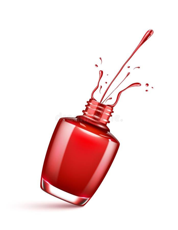 Κόκκινο μπουκάλι στιλβωτικής ουσίας καρφιών με τον παφλασμό που απομονώνεται διανυσματική απεικόνιση
