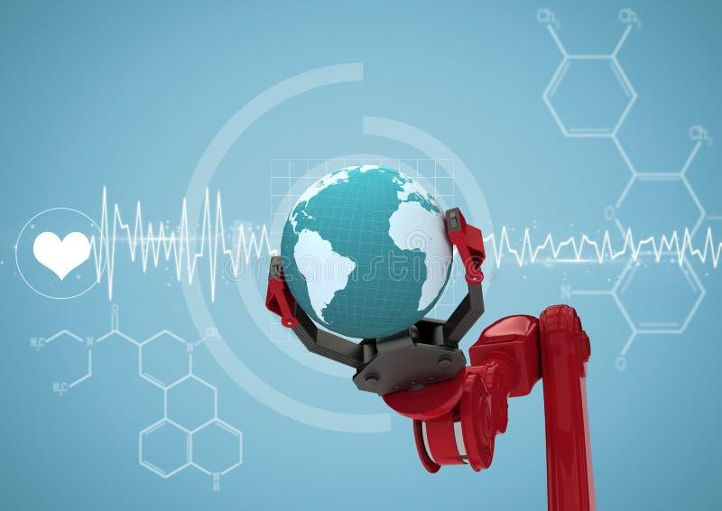 Κόκκινο νύχι ρομπότ με τη σφαίρα στην άσπρη ιατρική διεπαφή και το μπλε κλίμα απεικόνιση αποθεμάτων
