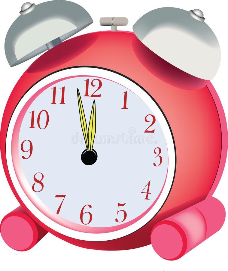 Κόκκινο ξυπνητήρι κρεβατοκάμαρων με τη χειρωνακτική επαναφόρτιση διανυσματική απεικόνιση