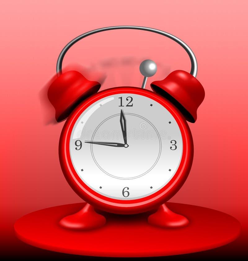 Κόκκινο ξυπνητήρι που χτυπά άγρια ελεύθερη απεικόνιση δικαιώματος