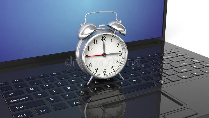 Κόκκινο ξυπνητήρι στο μαύρο lap-top στοκ φωτογραφία με δικαίωμα ελεύθερης χρήσης