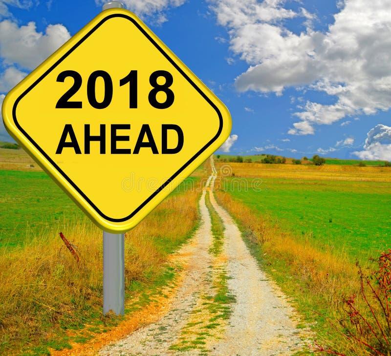 κόκκινο οδικό σημάδι επόμενου χρόνου του 2018 νέο - τρισδιάστατη απόδοση στοκ εικόνες