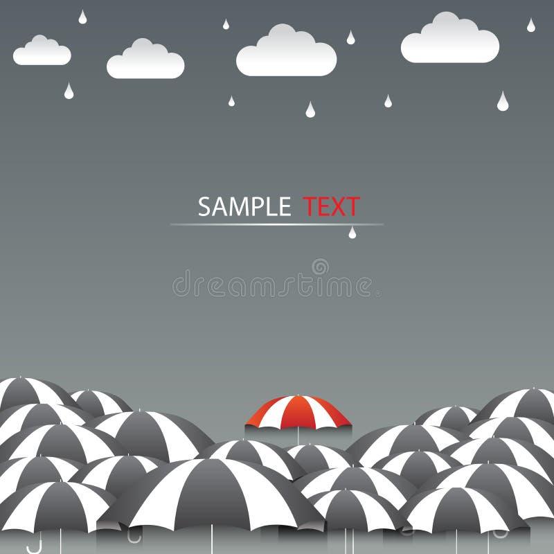 Κόκκινο ομπρελών και υπόβαθρο βροχής ελεύθερη απεικόνιση δικαιώματος