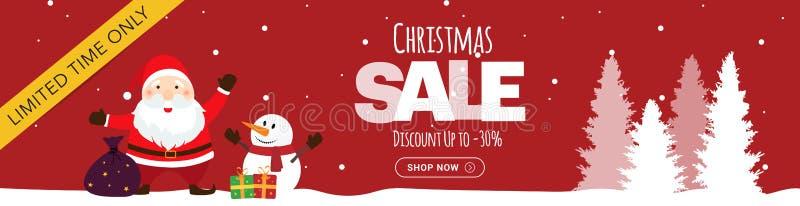 Κόκκινο οριζόντιο έμβλημα πώλησης Χριστουγέννων στοκ φωτογραφία