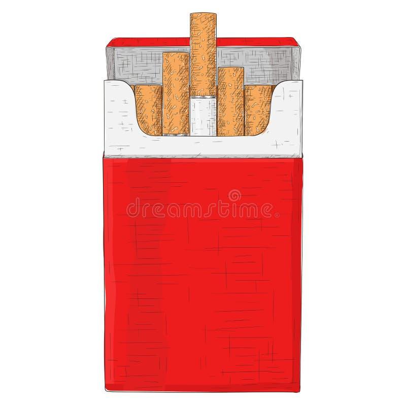 Κόκκινο πακέτο των τσιγάρων Συρμένο χέρι σκίτσο ελεύθερη απεικόνιση δικαιώματος