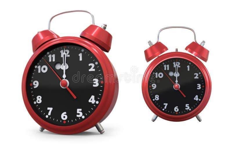 Κόκκινο παλαιό ξυπνητήρι ύφους τρισδιάστατο στοκ εικόνα