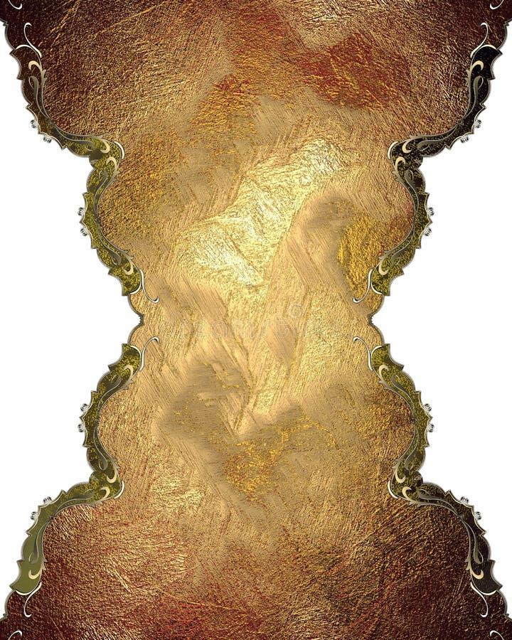 Κόκκινο πιάτο Grunge με τη χρυσή περιποίηση Πρότυπο για το σχέδιο διάστημα αντιγράφων για το φυλλάδιο αγγελιών ή την πρόσκληση αν απεικόνιση αποθεμάτων