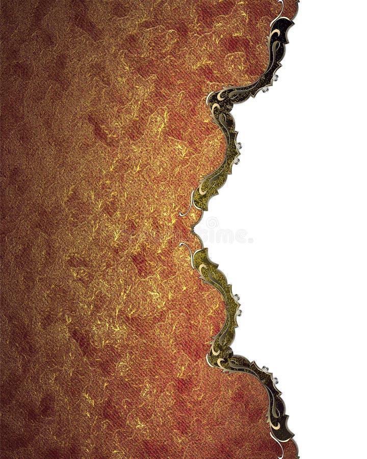 Κόκκινο πιάτο Grunge με τη χρυσή περιποίηση Πρότυπο για το σχέδιο διάστημα αντιγράφων για το φυλλάδιο αγγελιών ή την πρόσκληση αν διανυσματική απεικόνιση