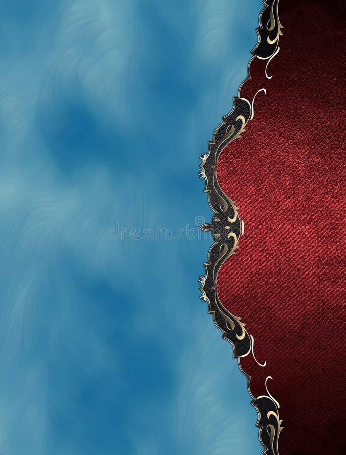 Κόκκινο πιάτο Grunge με τη χρυσή περιποίηση στο μπλε υπόβαθρο Πρότυπο για το σχέδιο διάστημα αντιγράφων για το φυλλάδιο αγγελιών  διανυσματική απεικόνιση