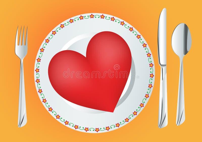 κόκκινο πιάτων καρδιών ελεύθερη απεικόνιση δικαιώματος