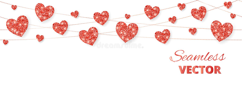 Κόκκινο πλαίσιο καρδιών, άνευ ραφής σύνορα Το διάνυσμα ακτινοβολεί απομονωμένος στο λευκό Για τη διακόσμηση των καρτών βαλεντίνων ελεύθερη απεικόνιση δικαιώματος