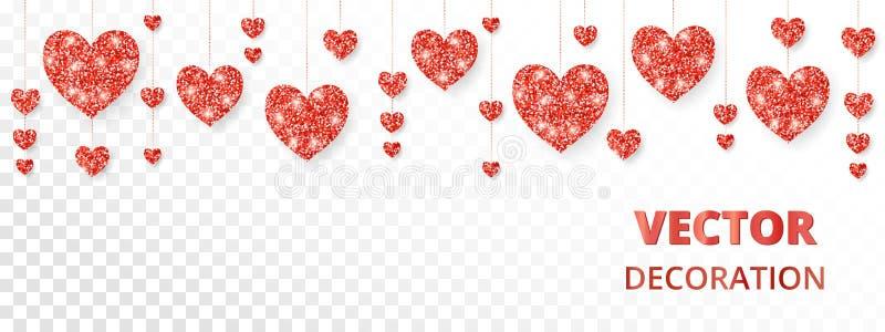 Κόκκινο πλαίσιο καρδιών, σύνορα Το διάνυσμα ακτινοβολεί απομονωμένος στο λευκό Για τη διακόσμηση των καρτών βαλεντίνων και ημέρας απεικόνιση αποθεμάτων