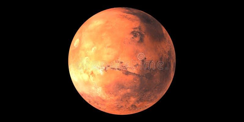 Κόκκινο πλανητών του Άρη στο διαστημικό μαύρο υπόβαθρο απεικόνιση αποθεμάτων