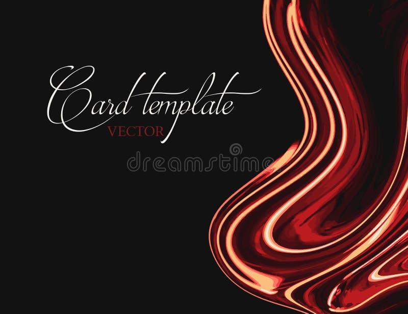 Κόκκινο πορτοκαλί υγρό πορτοκαλί μαύρο υπόβαθρο αντίθεσης Μαρμάρινος φωτεινός γραφικός Ζωηρόχρωμο σύγχρονο έμβλημα, πρότυπο παρου απεικόνιση αποθεμάτων