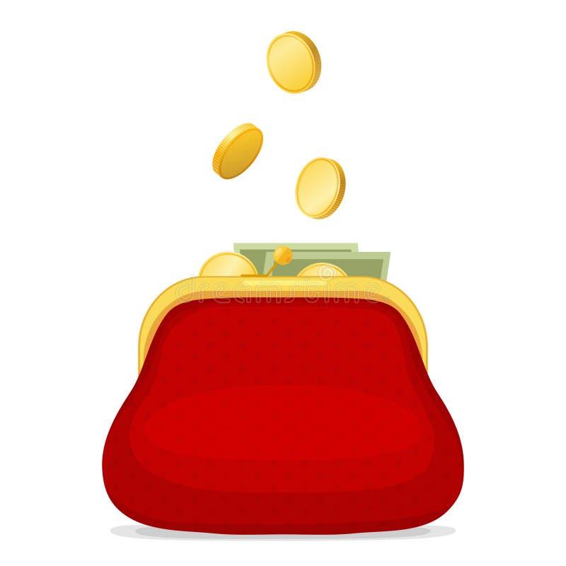 Κόκκινο πορτοφόλι και χρυσά νομίσματα διανυσματική απεικόνιση