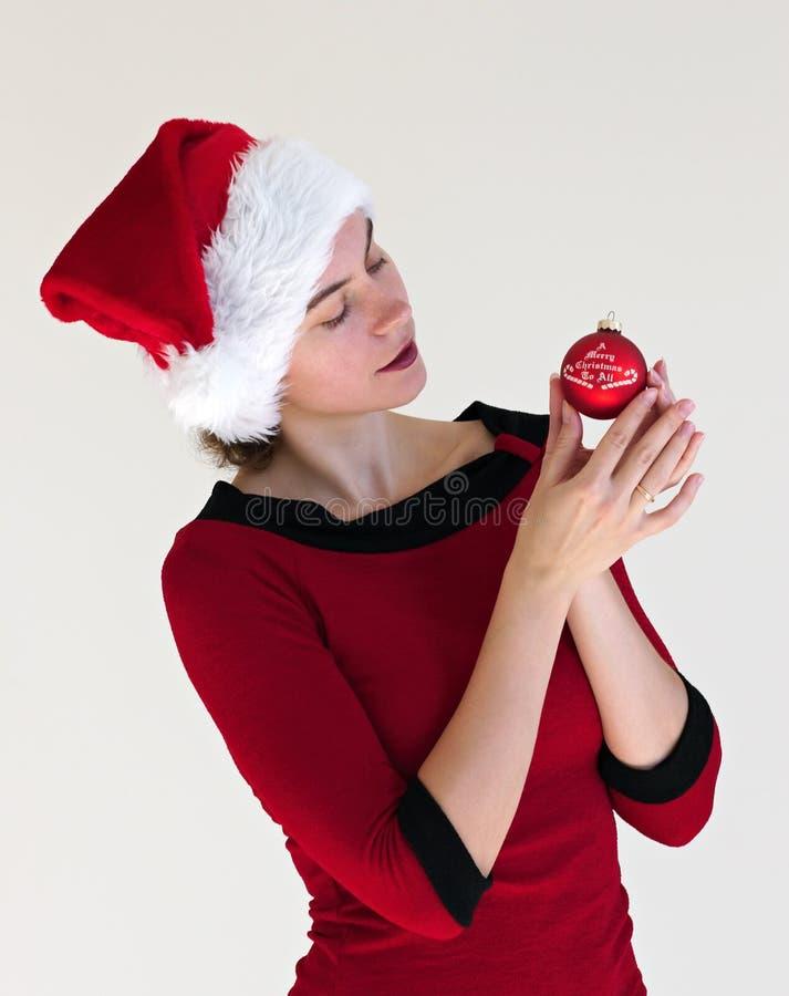 κόκκινο πορτρέτου Χριστουγέννων σφαιρών στοκ φωτογραφία με δικαίωμα ελεύθερης χρήσης