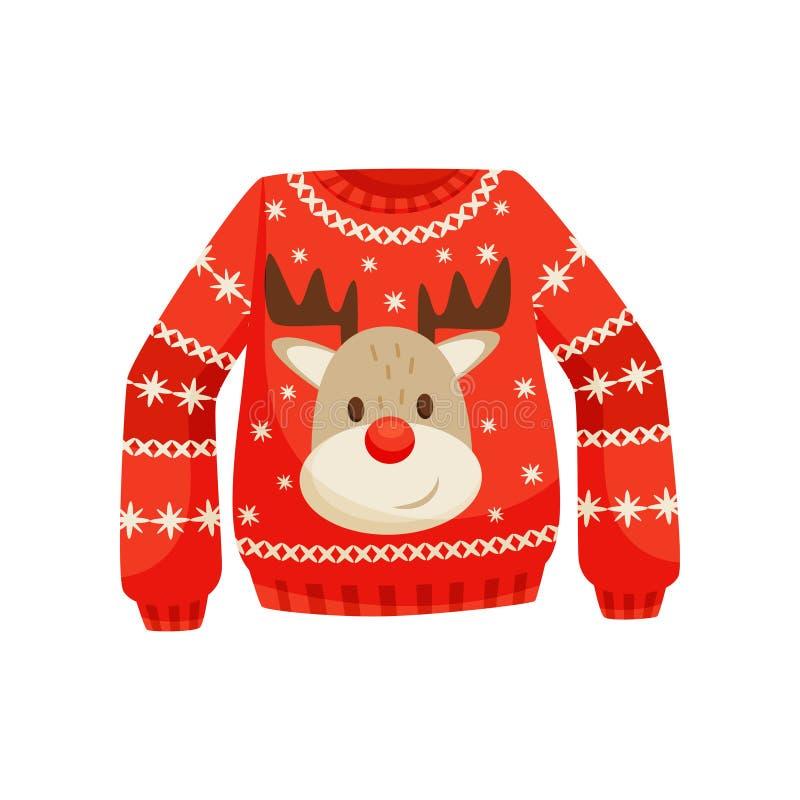 Κόκκινο πουλόβερ Χριστουγέννων, πλεκτός θερμός άλτης με τη χαριτωμένη διανυσματική απεικόνιση ταράνδων σε ένα άσπρο υπόβαθρο διανυσματική απεικόνιση