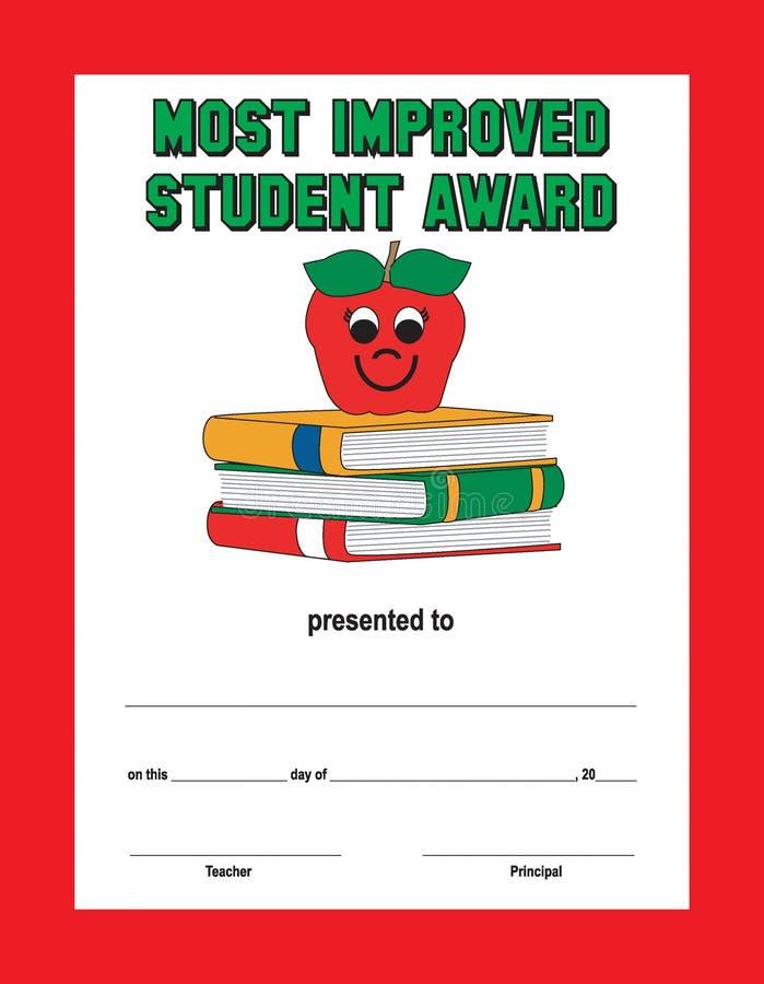 Κόκκινο πράσινο κείμενο συνόρων το περισσότερο βελτιωμένο βραβείο σπουδαστών ελεύθερη απεικόνιση δικαιώματος