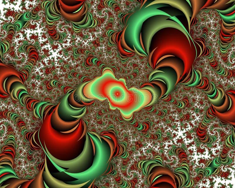 Κόκκινο πράσινο φωτεινό αφηρημένο fractal αφηρημένο υπόβαθρο, flowery σύσταση διανυσματική απεικόνιση