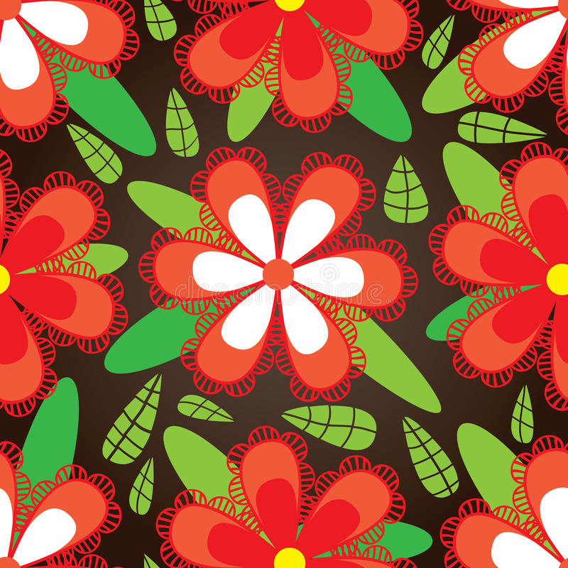 Κόκκινο πράσινο φύλλο άνευ ραφής Pattern_eps λουλουδιών διανυσματική απεικόνιση