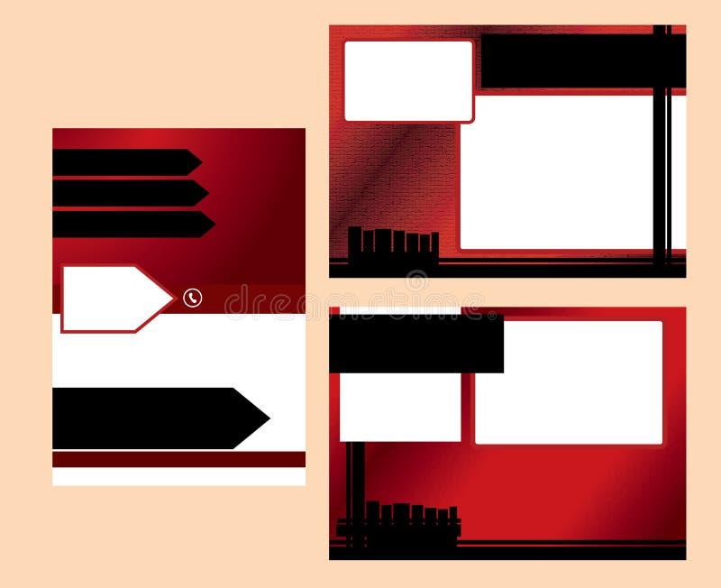 Κόκκινο πρότυπο επιχειρησιακών καρτών στοκ εικόνες